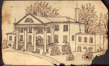 Sketch of West Elevation, Made During the Civil War